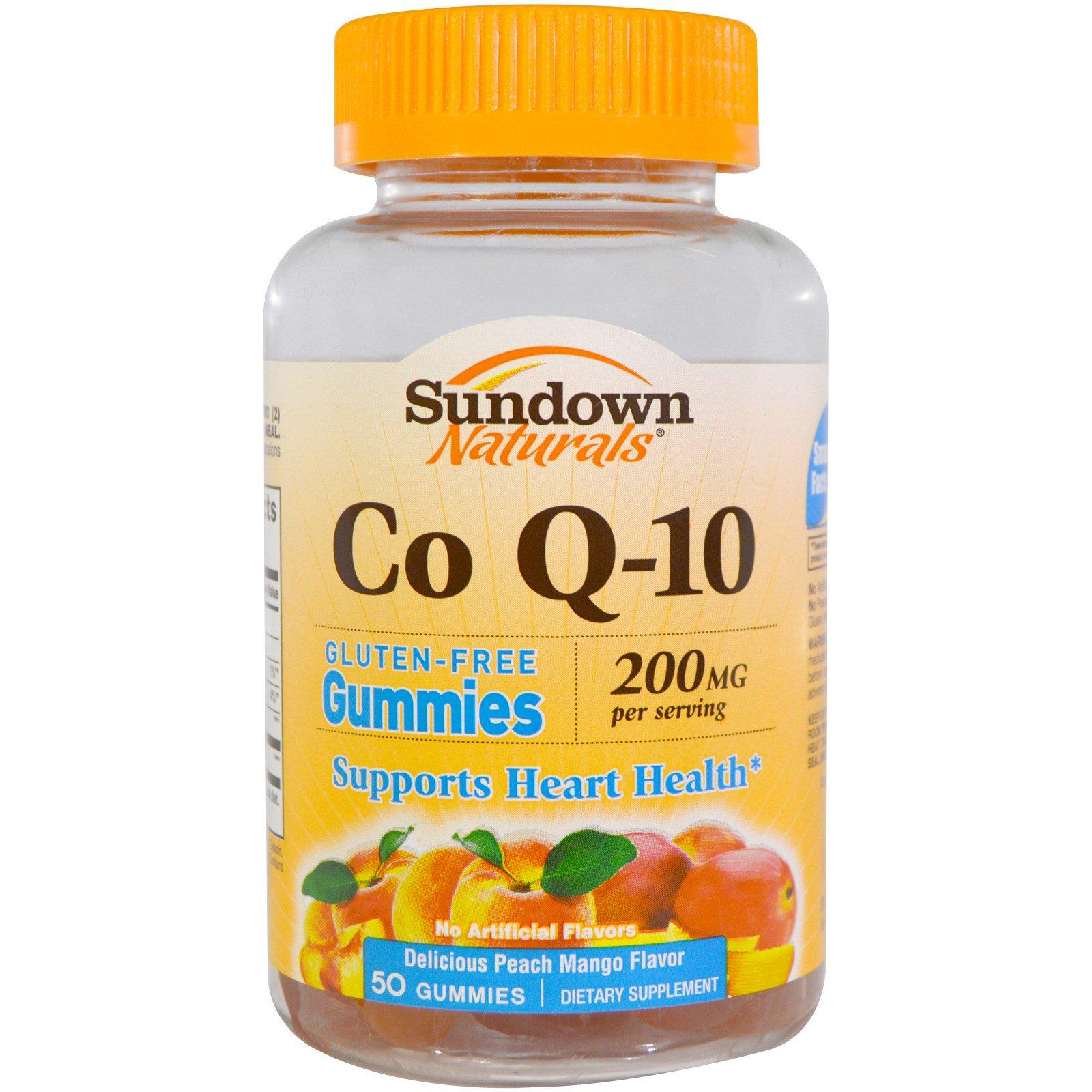 Sundown Naturals, Кофермент Q-10, вкус персика и манго, 200 мг, 50 желатиновых конфет