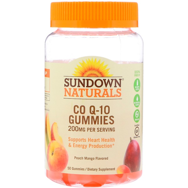 Co Q-10 Gummies, Peach Mango Flavored, 200 mg, 50 Gummies