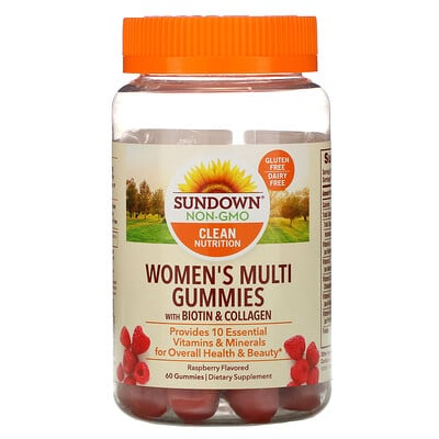Sundown Naturals Women's Multivitamin Gummies with Biotin, Raspberry Flavored, 60 Gummies