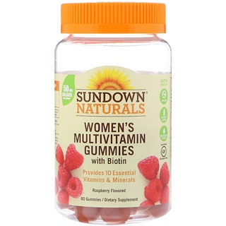 Sundown Naturals, علكات متعددة الفيتامينات للنساء، مع البيوتين، نكهة التوت، 60 علكة