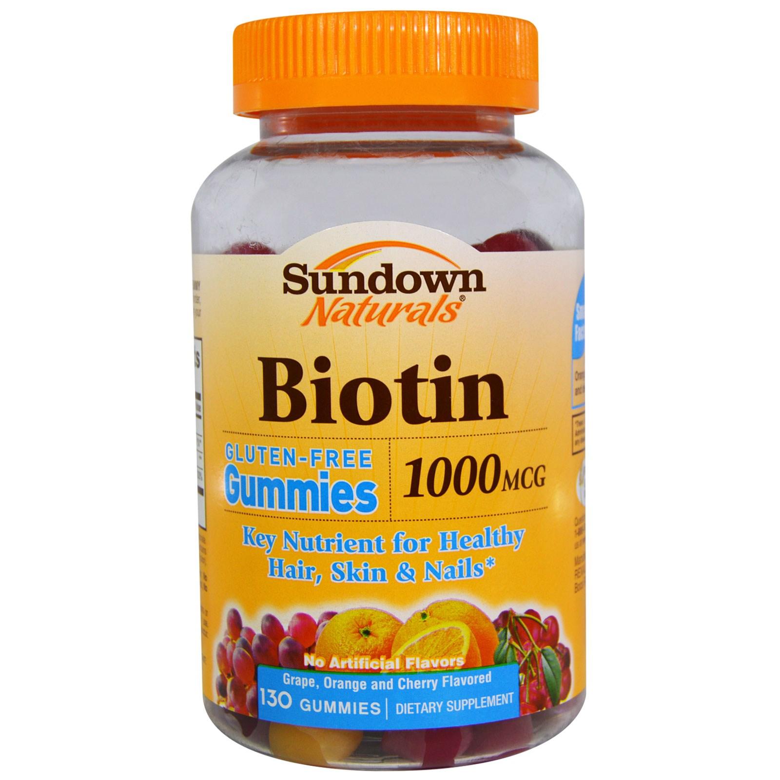 Sundown Naturals, Биотин, со вкусом винограда, апельсина и вишни, 1000 мкг, 130 желатиновых конфет