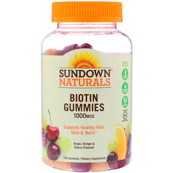 Sundown Naturals, Biotin Gummies, Grape, Orange and Cherry Flavored, 1000 mcg, 130 Gummies