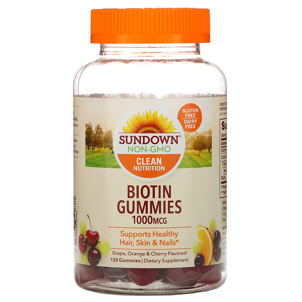 Sundown Naturals, Biotin Gummies, Grape, Orange and Cherry Flavored, 1,000 mcg, 130 Gummies