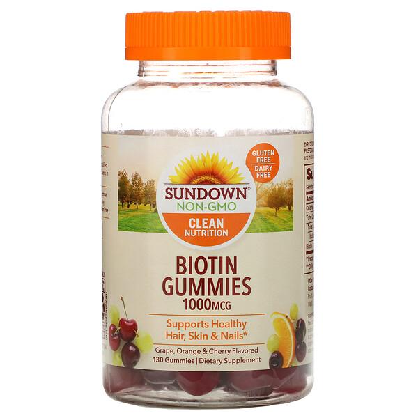 Biotin Gummies, Grape, Orange and Cherry Flavored, 1,000 mcg, 130 Gummies