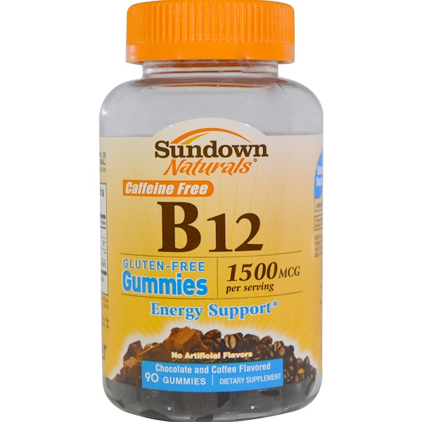 Sundown Naturals, B12, 1500 mcg, Chocolate and Coffee Flavored, 90 Gummies (Discontinued Item)