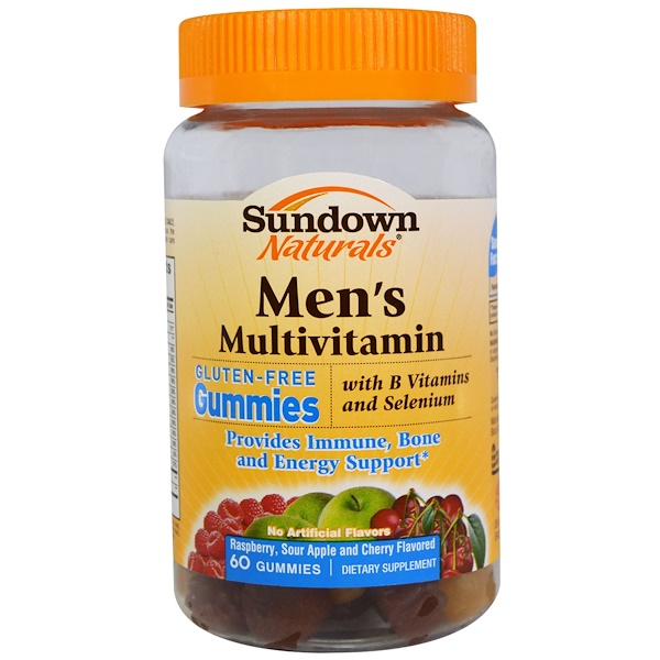 Sundown Naturals, Men's Multivitamin, Raspberry, Sour Apple and Cherry Flavored, 60 Gummies (Discontinued Item)