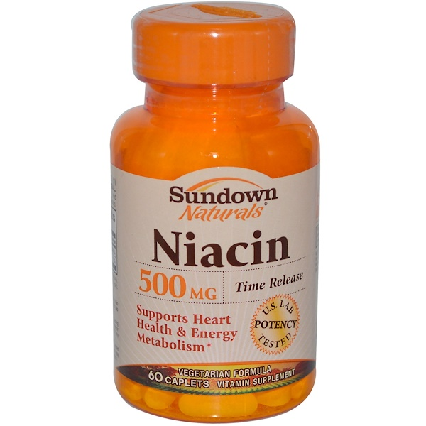 Sundown Naturals, Niacin, Time Release, 500 mg, 60 Caplets (Discontinued Item)