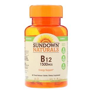 Sundown Naturals, B12, 1500 mcg, 60 Time Release Tablets