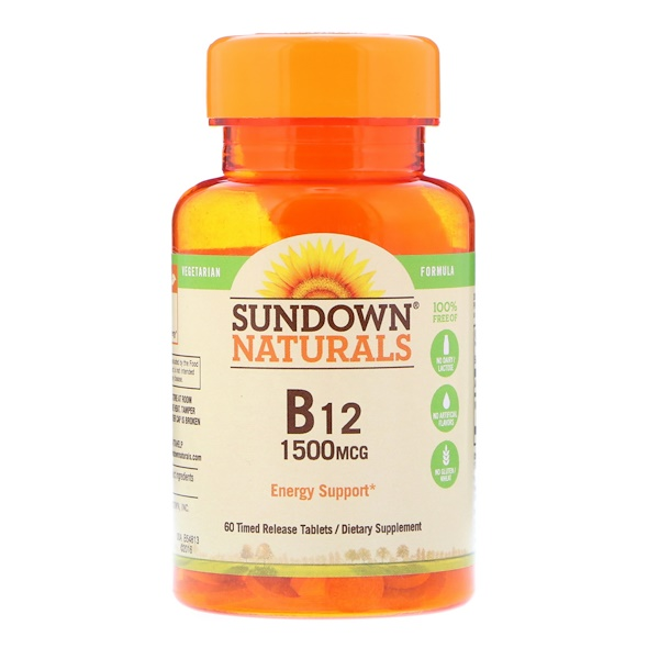 Sundown Naturals, B12, 1500 mcg, 60 Time Release Tablets