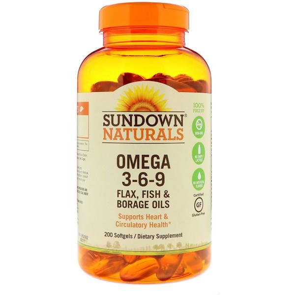 Sundown naturals omega 3 6 9 flax fish borage oils for Fish flax and borage oil