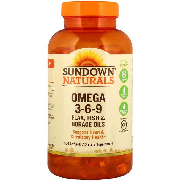 Sundown Naturals, Омега 3-6-9 - льняное масло, рыбий жир и масло бурачника, 200 мягких таблеток