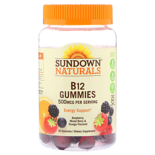 Sundown Naturals, B12, 500 mcg, Raspberry, Mixed Berry & Orange, 50 Gummies (Discontinued Item)
