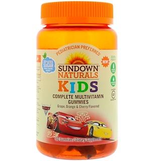 Sundown Naturals Kids, 完整的複合維生素軟糖,迪斯尼汽車3,葡萄、橙子和櫻桃口味,60粒軟糖