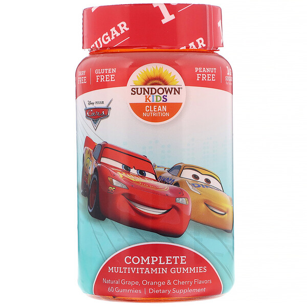 Sundown Naturals Kids, Complete Multivitamin Gummies, Disney Cars, Natural Grape, Orange & Cherry Flavors, 60 Gummies