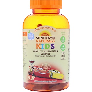 Sundown Naturals Kids, Мультивитаминные жевательные конфеты, Disney Cars 3, со вкусами винограда, апельсина и вишни, 180 жевательных конфет