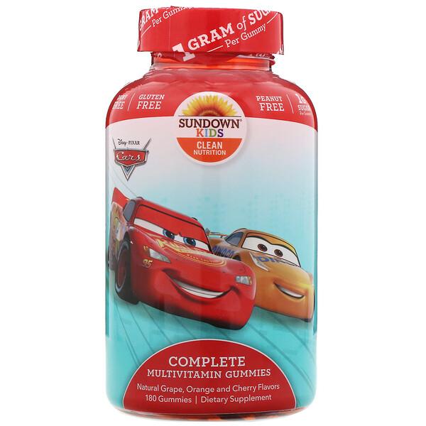 Sundown Naturals Kids, Complete Multivitamin Gummies, Disney Cars, Natural Grape, Orange & Cherry Flavors, 180 Gummies (Discontinued Item)