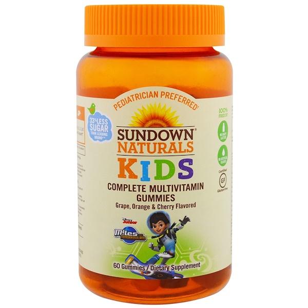 Sundown Naturals Kids, 兒童,完整復合維生素軟糖,明日世界任務,葡萄、桔子和櫻桃, 60粒軟糖