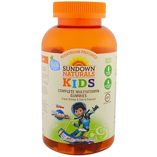 Sundown Naturals Kids, Complete Multivitamin Gummies, Miles from Tomorrowland, Grape, Orange & Cherry Flavored, 180 Gummies