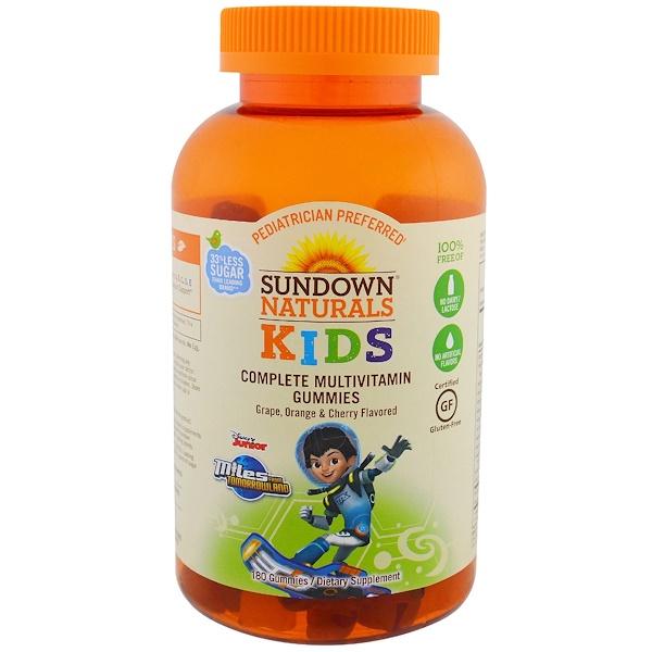 Sundown Naturals Kids, Complete Multivitamin Gummies, Miles from Tomorrowland, Grape, Orange & Cherry Flavored, 180 Gummies (Discontinued Item)
