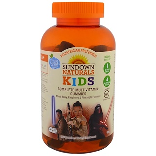 Sundown Naturals Kids, Дети, полные мультивитаминные жевательные мармеладки, Звездные войны Диснея, ягодная смесь, малина и ананас, 180 жевательных мармеладок