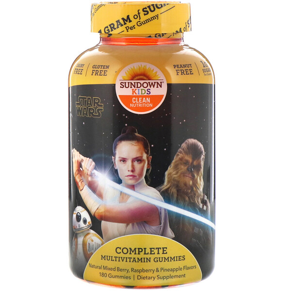 Sundown Naturals Kids, Complete Multivitamin Gummies, Disney Star Wars, Natural Mixed Berry, Raspberry & Pineapple Flavors, 180 Gummies