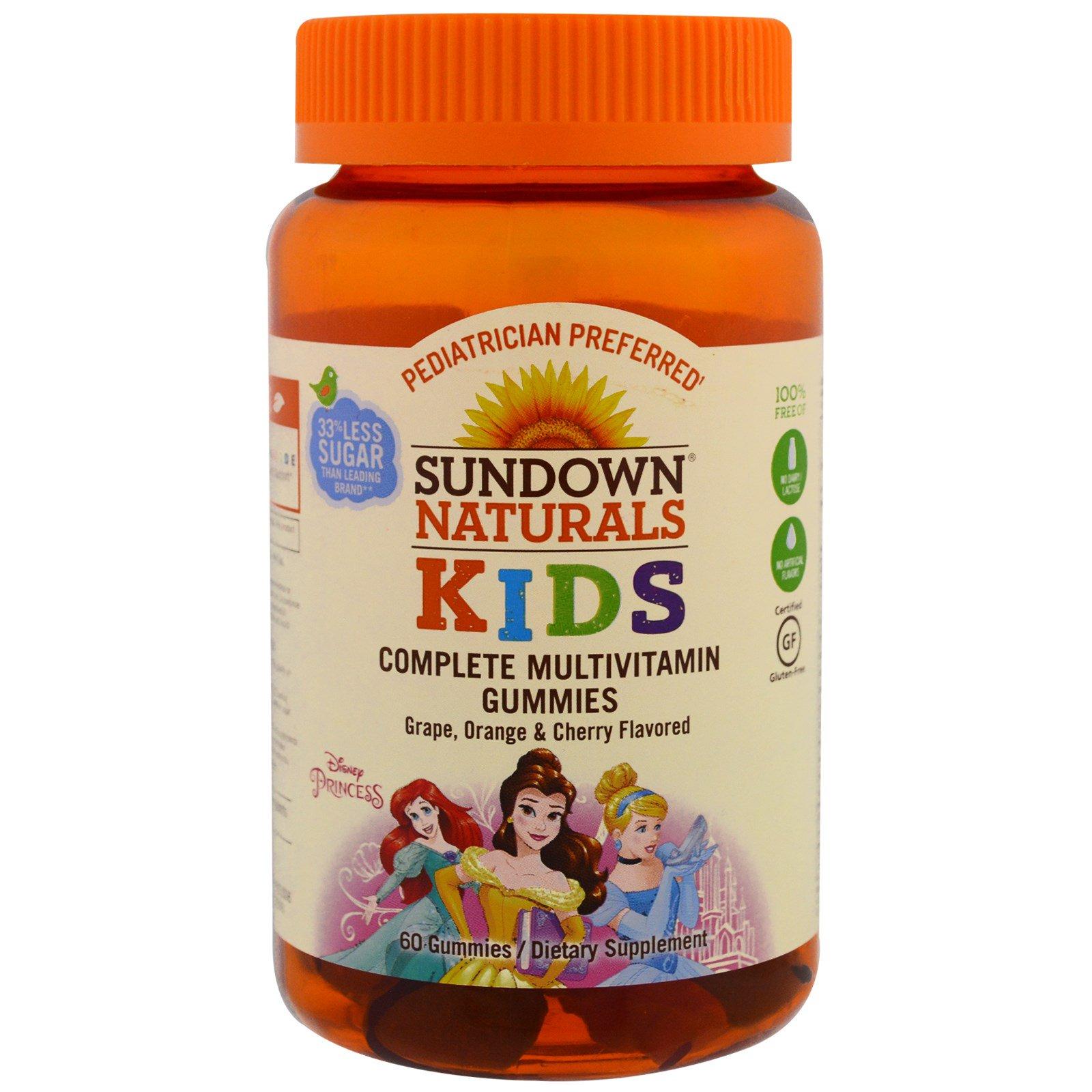 Sundown Naturals Kids, Детские жевательные мультивитамины, Диснеевские принцессы, со вкусом винограда, апельсина и вишни, 60 штук