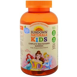 Sundown Naturals Kids, Complete Multivitamin Gummies, Disney Princess, Grape, Orange & Cherry Flavored, 180 Gummies