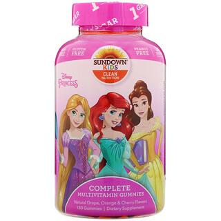 Sundown Naturals Kids, Complete Multivitamin Gummies, Disney Princess, Natural Grape, Orange & Cherry Flavors, 180 Gummies