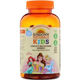Sundown Naturals Kids, Дети, полный мультивитаминный жевательный мармелад, принцесса Диснея, виноград, апельсин и вишня, 180 жевательных мармеладок