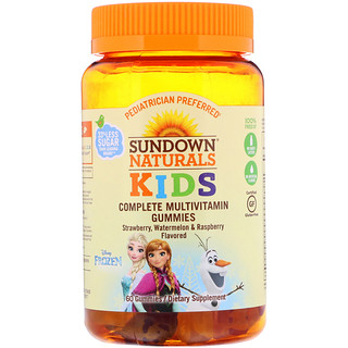 Sundown Naturals Kids, Complete Multivitamin Gummies, Disney Frozen, Strawberry, Watermelon & Raspberry Flavored, 60 Gummies