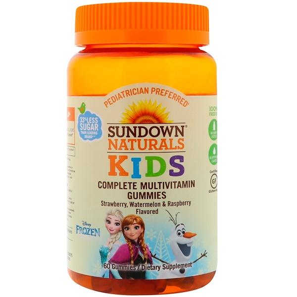 Sundown Naturals Kids, 完全綜合維生素軟糖,迪士尼冰雪奇緣,草莓、西瓜&覆盆子口味,60 粒