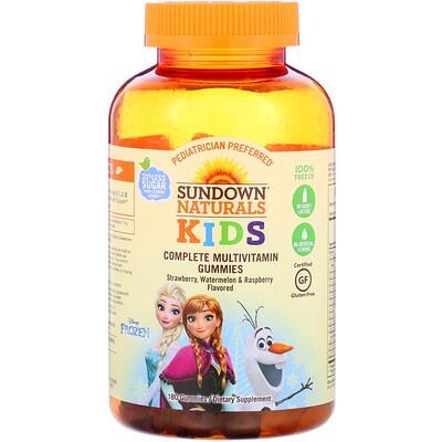Купить Sundown Naturals Kids Полный мультивитаминный комплекс в жевательных конфетах, Disney «Холодное сердце 2», ароматизаторы со вкусом клубники, арбуза и малины, 180жевательных конфет