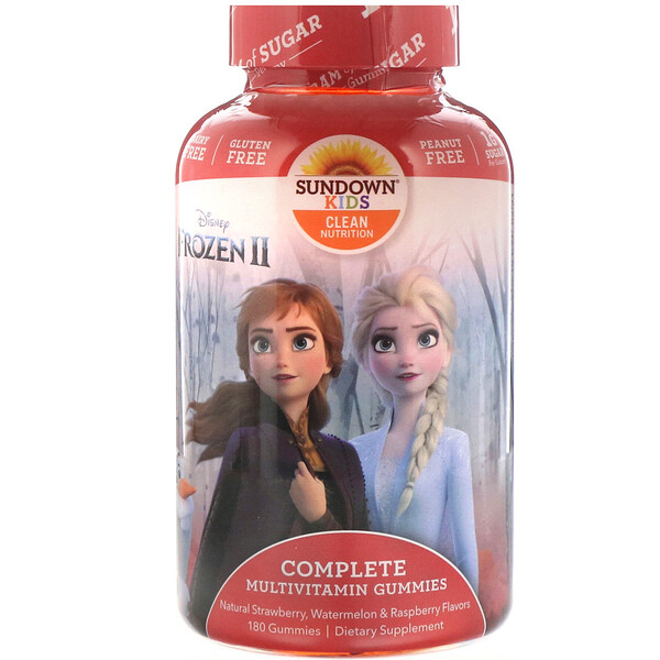 Sundown Naturals Kids, Complete Multivitamin Gummies, Disney Frozen, Strawberry, Watermelon & Raspberry, 180 Gummies