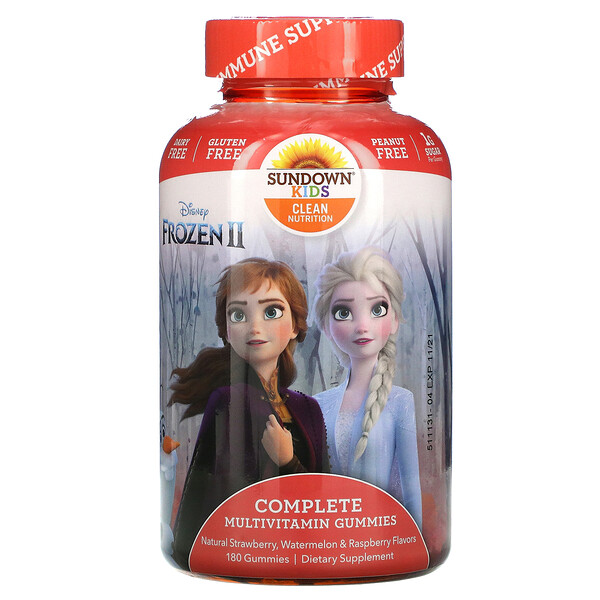 Complete Multivitamin Gummies, Disney Frozen II, Natural Strawberry, Watermelon & Raspberry Flavors, 180 Gummies