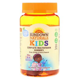 Sundown Naturals Kids, Complete Multivitamin Gummies, Disney Doc McStuffins, Grape, Orange & Cherry Flavored, 60 Gummies