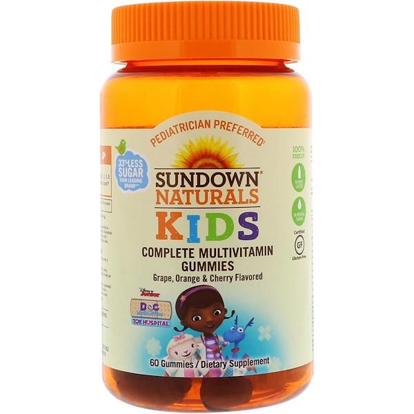 維生素多種維生素多種維生素,兒童:Sundown Naturals Kids, 完全綜合維生素軟糖,迪士尼玩具小醫生,葡萄、香橙&櫻桃口味,60 粒