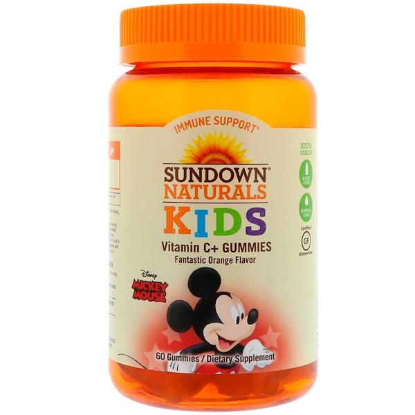 Sundown Naturals Kids, 維生素 C + 軟糖,迪士尼米老鼠,美味的香橙口味,60 粒