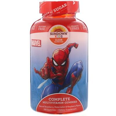 Компекс мультивитаминов в жевательных таблетках, Marvel Spiderman, с натуральными ароматизатороами клубники, арбуза и малины, 180 таблеток