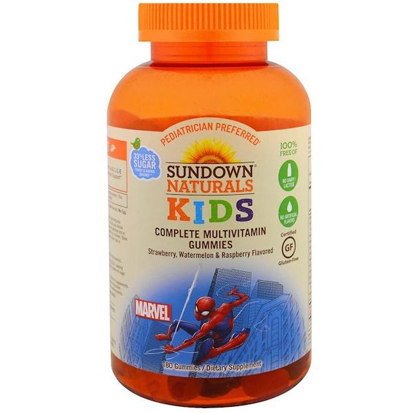 Sundown Naturals Kids, Kids, Gomitas Multivitaminas, Marvel Spiderman, Fresa, Sandía y Frambuesa, 180 Gomitas