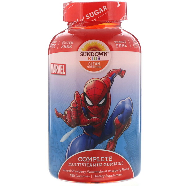 Complete Multivitamin Gummies, Marvel Spiderman, Natural Strawberry, Watermelon & Raspberry Flavors, 180 Gummies