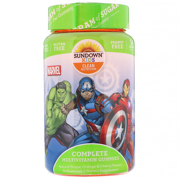 Sundown Naturals Kids, Complete Multivitamin Gummies, Marvel Avengers, Natural Grape, Orange & Cherry Flavors, 60 Gummies