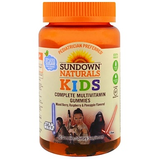 Sundown Naturals Kids, Complete Multivitamin Gummies, Disney Star Wars, Mixed Berry, Raspberry & Pineapple Flavored, 60 Gummies
