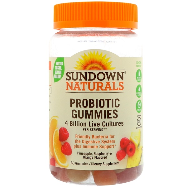 Sundown Naturals, Probiotic Gummies, 4 Billion Live Cultures, 60 Gummies