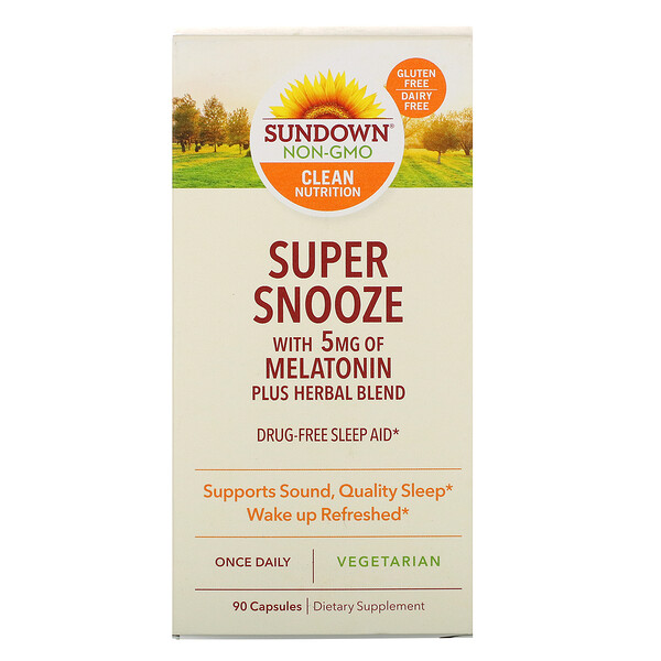 Sundown Naturals, Super Snooze Melatonin, 90 Capsules