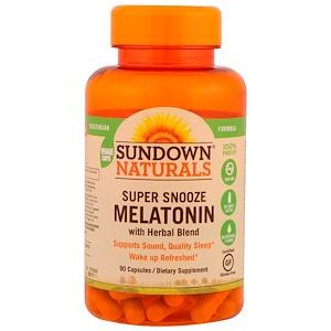 Sundown Naturals, Мелатонин для суперсна, 90 капсул