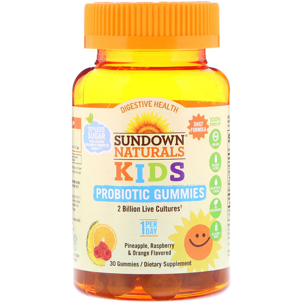 Sundown Naturals Kids, Kids Probiotic Gummies, Pineapple, Raspberry & Orange Flavored, 2 Billion Live Cultures, 30 Gummies