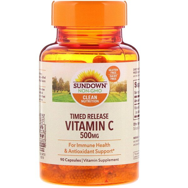 Sundown Naturals, Vitamin C, Timed Release, 500 mg, 90 Capsules