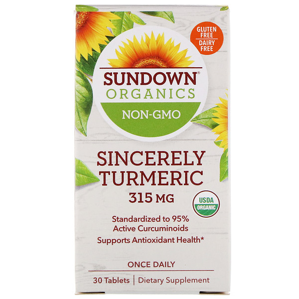 Sundown Organics, Sincerely Turmeric, 315 mg, 30 Comprimidos