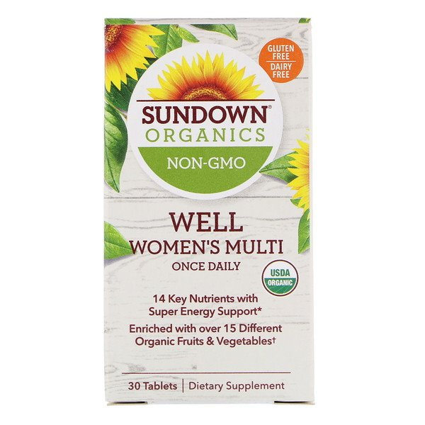 Sundown Organics, Well Women's Multivitamin, Once Daily, 30 Tablets