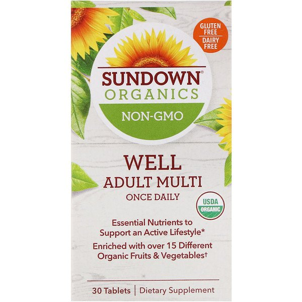 Sundown Organics, Well Adult Multi, Once Daily, 30 Tablets